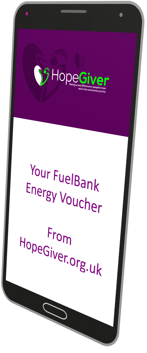 HopeGiver FuelBank Voucher on phone